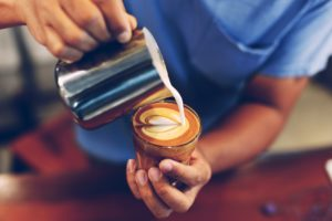 coffee latte in coffee shop vintage color